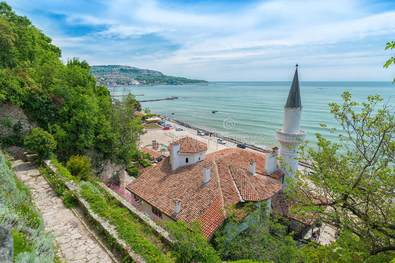Top view of Balchik Palace at seaside of Bulgarian Black Sea royalty free stock photo