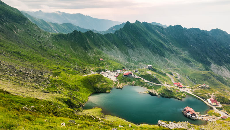 Top view of Balea Lake in Romania. Sample royalty free stock images