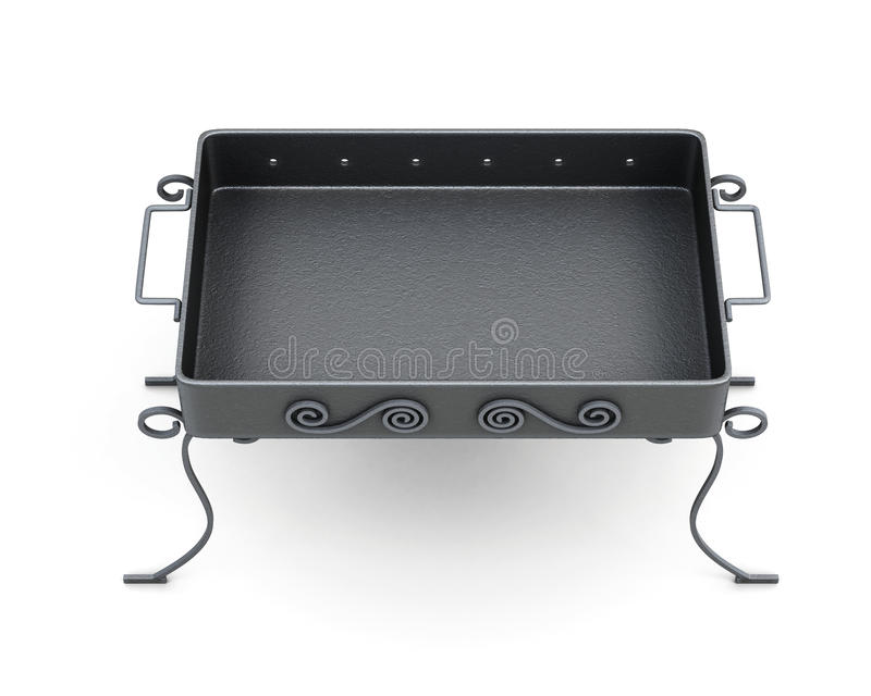 Top view barbecue grill on white background. 3d renderi stock illustration