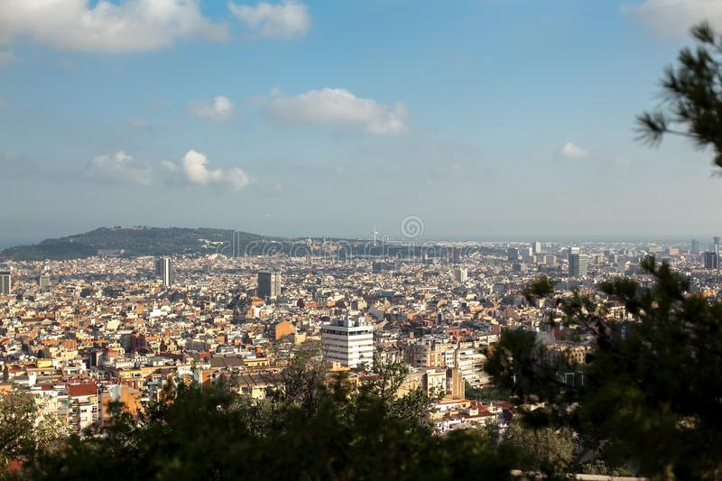 Top-view of Barcelona,Spain at day time from high point in sunny day from park GUEL. Travel. Spain, Barcelona, July 12. Top-view of Barcelona,Spain at day time stock image