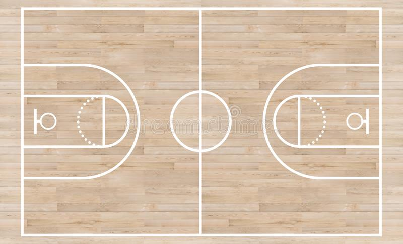 Top view, Basketball court and layout line on wooden texture background. S stock illustration