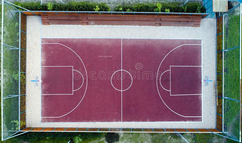 Top view of a basketball court without people. Aerial photography royalty free stock images