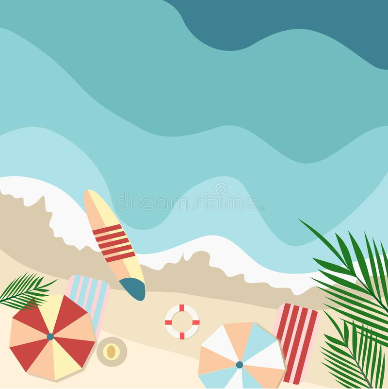 Top view on beach sand and colorful beach sun umbrellas sea surf. Vector illustration stock illustration