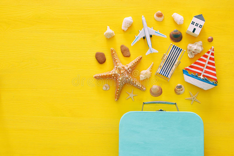 Top view beach and vacation concept with nautical life style objects.  royalty free stock photos