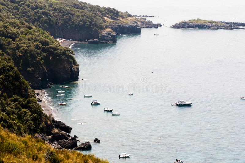 Top view the beaches of Maratea in Basilicata. Italy royalty free stock images