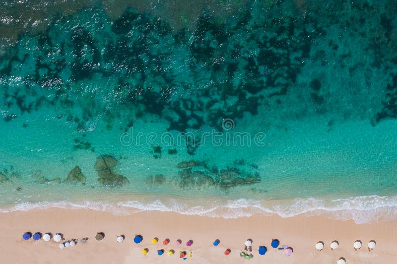 Paradise beach top view stock images