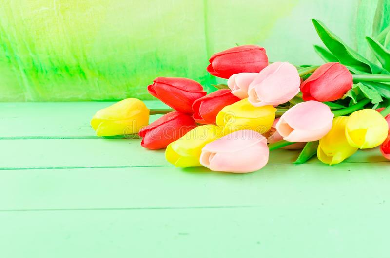 Bouquet Of Spring Red, Pink And Yellow Tulips Stock Image