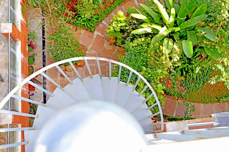 Top View of Beautiful Stairs Railing Amazing Garden royalty free stock images