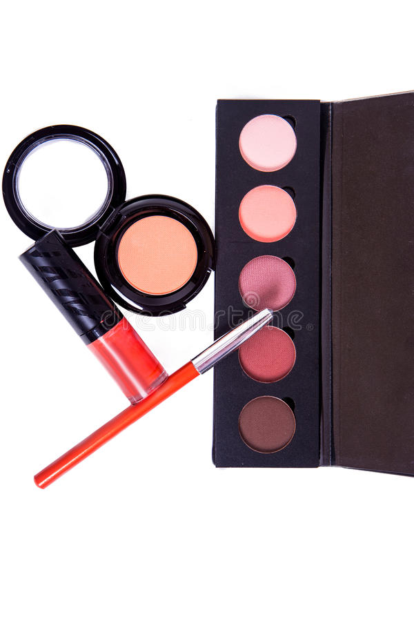 Top view beautiful vivid various item makeup. Kit on white background royalty free stock photography