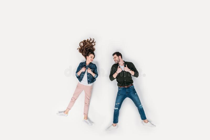 top view of beautiful young couple in stylish clothing royalty free stock photo