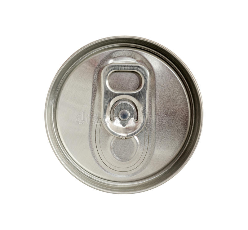 Top view of beverage can with silver ring pull isolated on white. Background stock photos