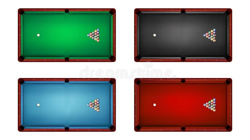 Top view of billiard table and billiard balls, vector illustration vector illustration