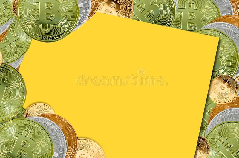 Top view Bitcoins.Financial growth concept,bitcoin and chart on yellow background. For background royalty free stock photo