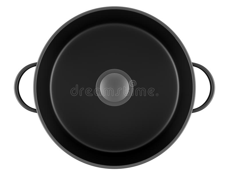 Top view of black cooking pan isolated on white royalty free illustration