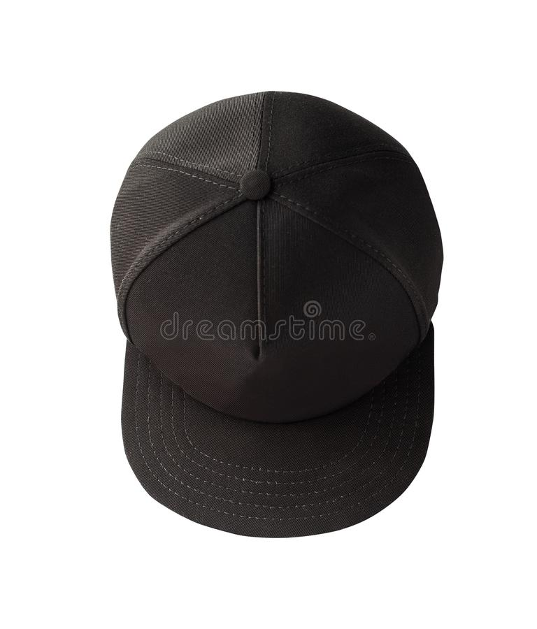 Top view of black snapback cap. Isolated on white background. Blank baseball cap or trucker hat stock photography