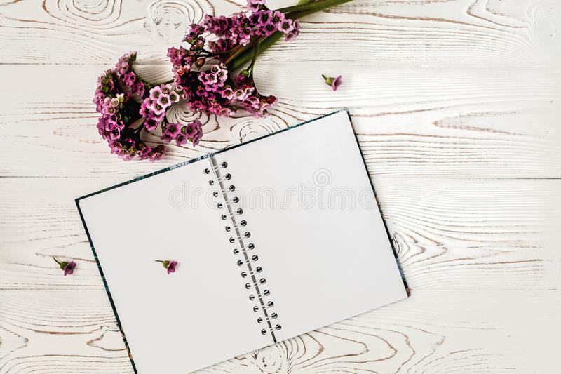 Top view of blank diary or notebook and purple flower on white wooden table. Flat design royalty free stock photography