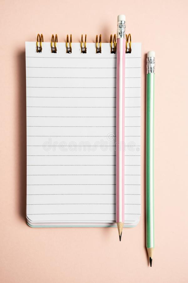 Top view of blank notebook with funny fluffy pen on pink pastel background with copy space, vertical composition royalty free stock photography