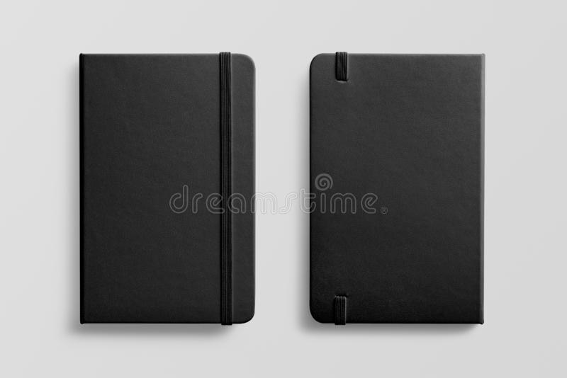 Top view of Blank photorealistic notebook mockup on light grey background. royalty free stock image