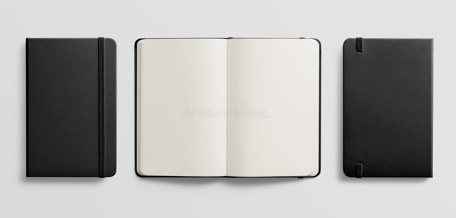 Top view of Blank photorealistic notebook mockup on light grey background. stock images