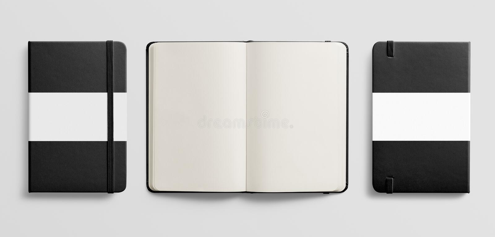 Top view of Blank photorealistic notebook mockup on light grey background. stock image