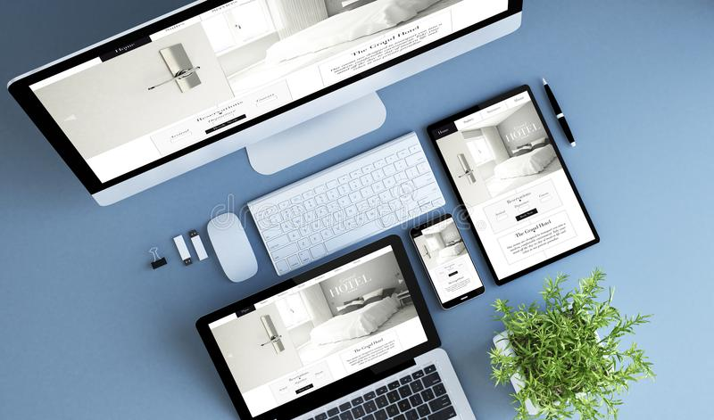 top view blue devices hotel website royalty free illustration