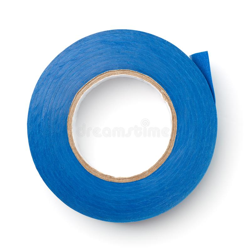 Top view of blue plastic duct tape royalty free stock image