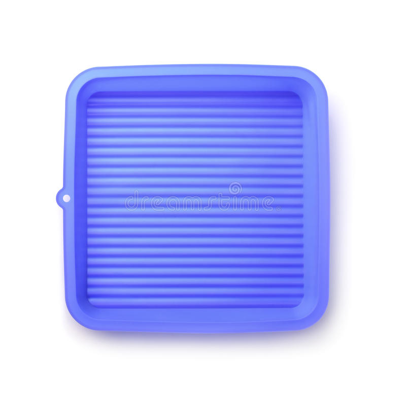 Top view of blue silicone pan royalty free stock photos