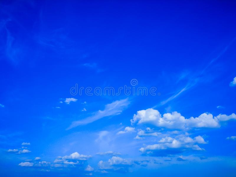 Top view blue sky white cloud beautiful day full frame background. Top view blue sky and white cloud beautiful day full frame background.Deep blue sky stock photo