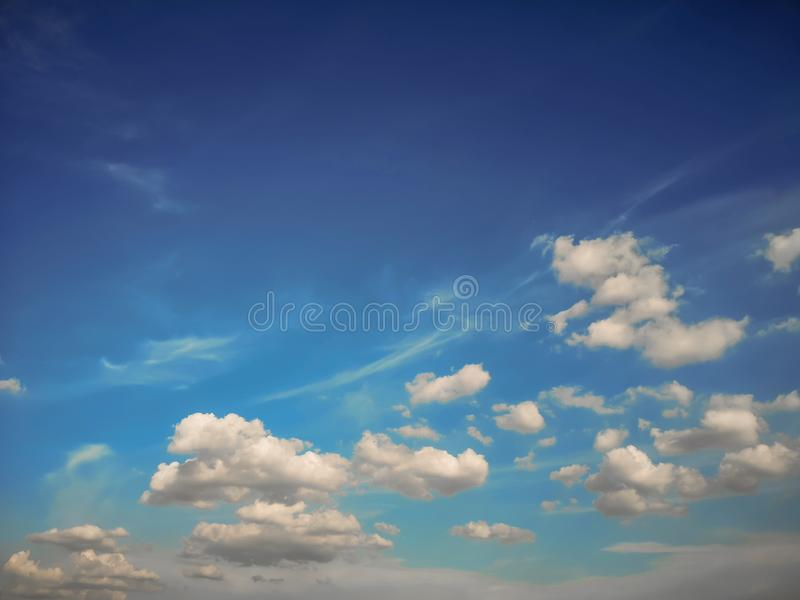 Top view blue sky white cloud beautiful day full frame background. Top view blue sky and white cloud beautiful day full frame background.Deep blue sky royalty free stock images