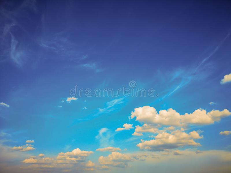 Top view blue sky white cloud beautiful day full frame background. Top view blue sky and white cloud beautiful day full frame background.Deep blue sky royalty free stock photography