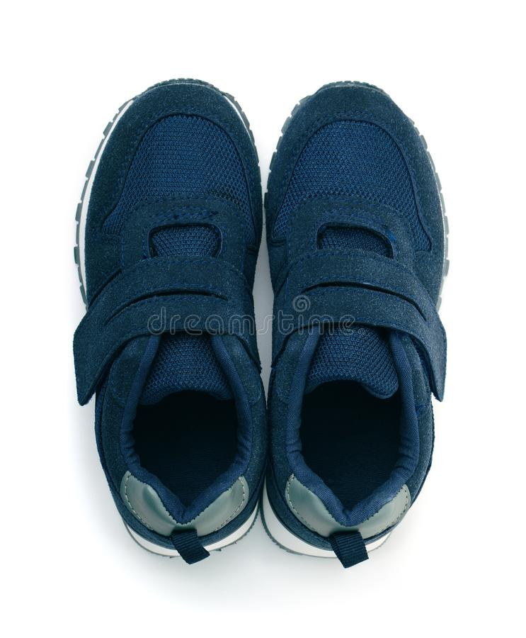 Top view of blue suede sport shoes royalty free stock image
