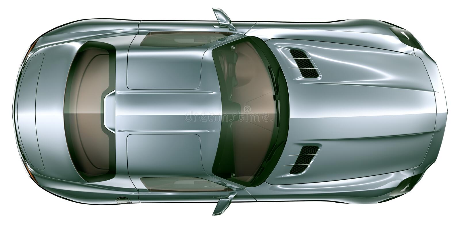Top view of blue super sport car royalty free stock photos