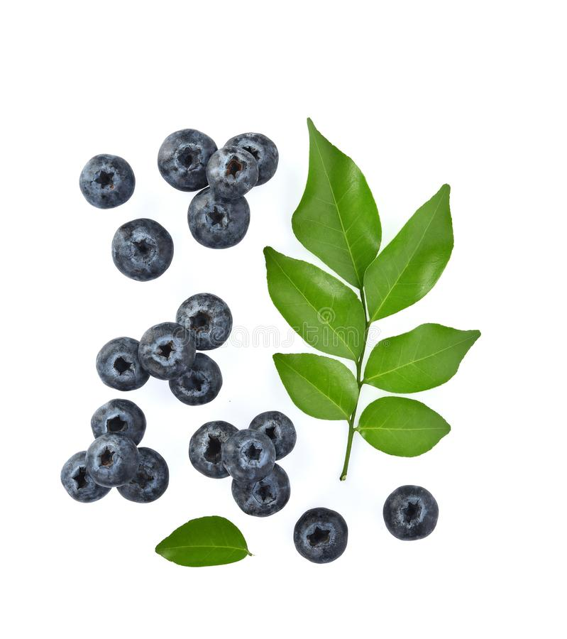Top view of Blueberries with green leaves closeup, isolated on white background stock image