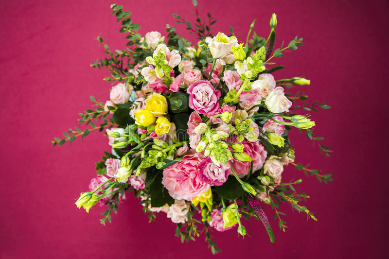 Top View Of A Bouquet Of Beautiful Flowers In The Sunlight Stock ...