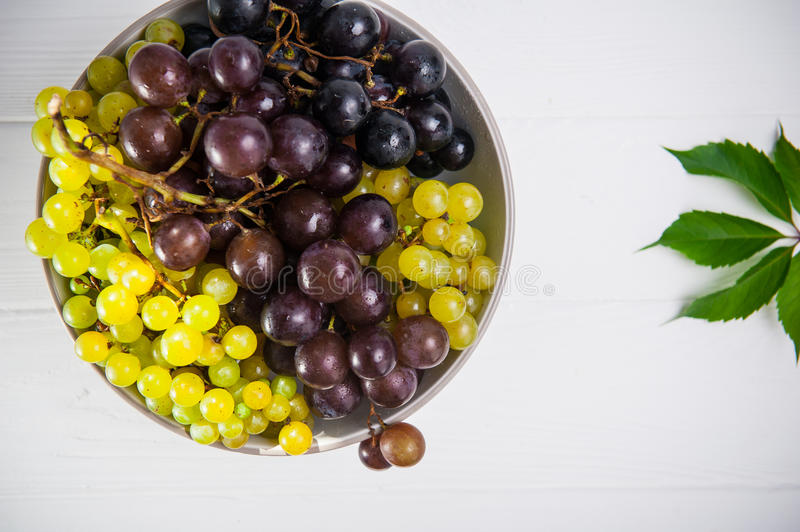 Top view bowl of various grapes: red, white and black berries and green leaf on the white wooden background. Selective focus. Spac royalty free stock photos