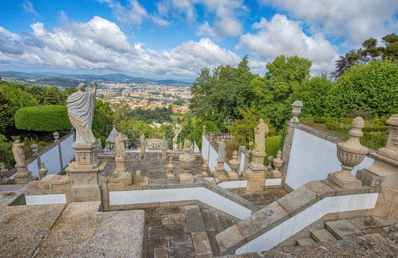 Top view of Braga city, Portugal, from Bom Jesus do Monte Sanctuary. Europe stock photo