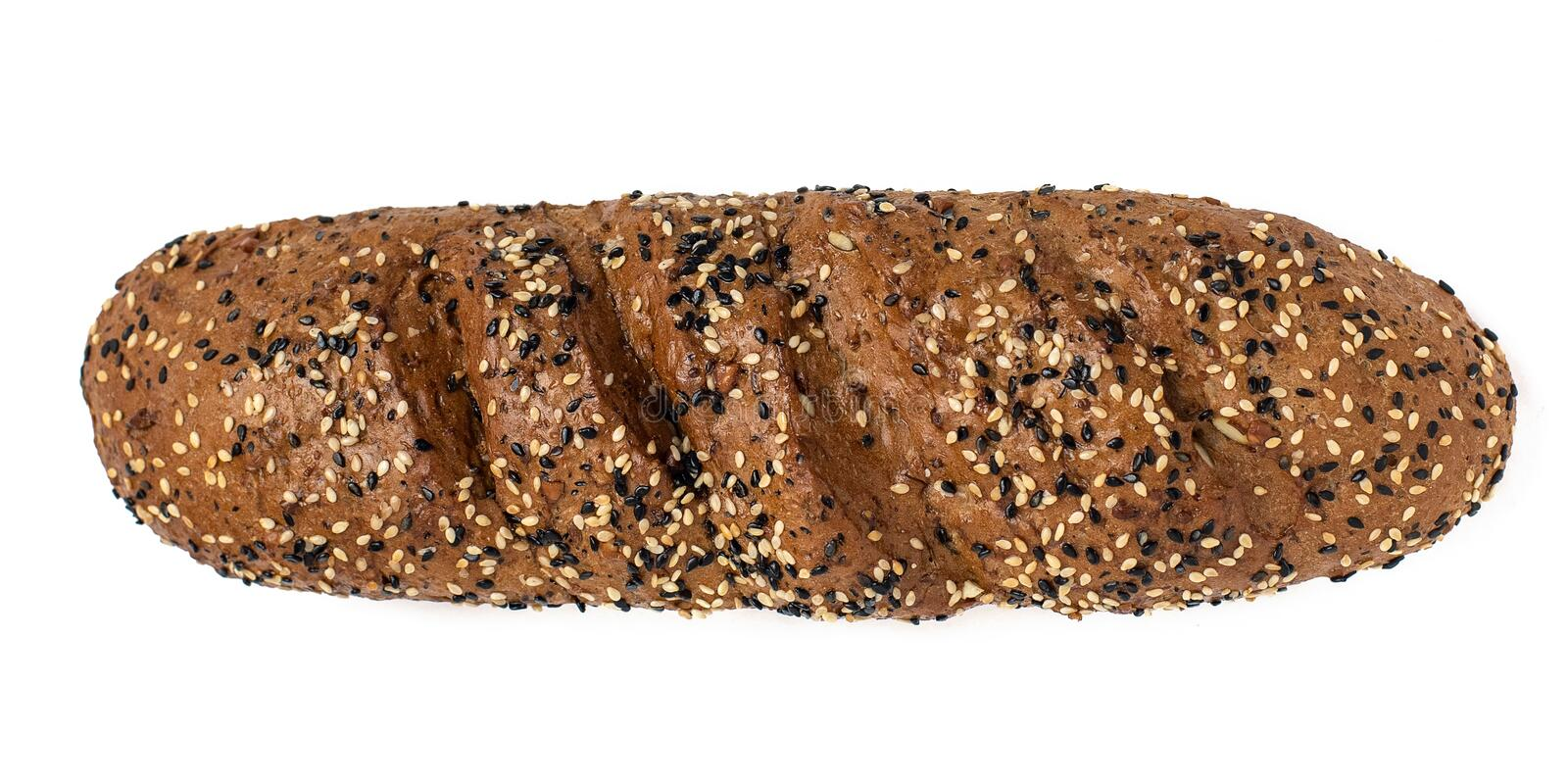 Top view of grain bread with different seeds isolated on white background royalty free stock image