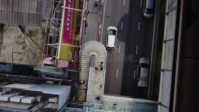 Top view of bridge road and rails. Landscape building modern business district of Bangkok. X-shaped expressway, sky royalty free stock photos