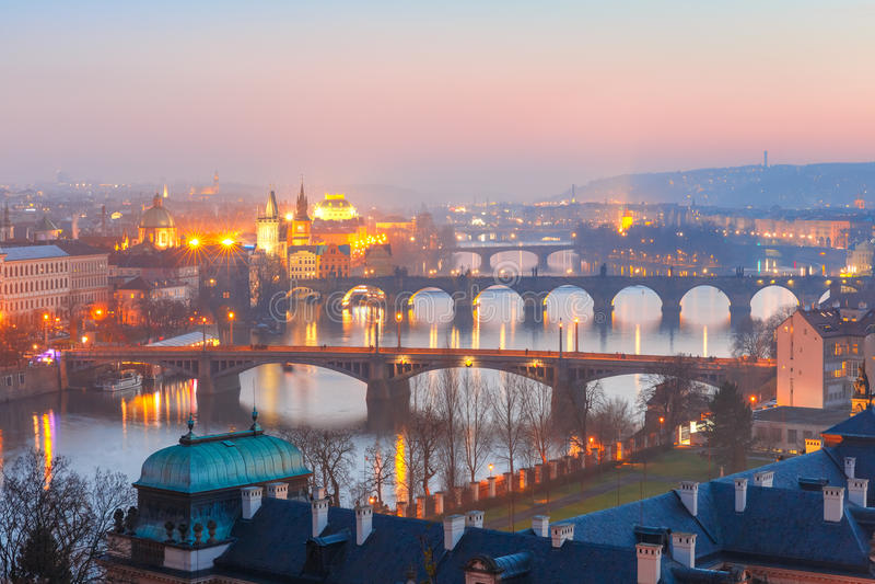 Top view bridges on the Vltava River in Prague royalty free stock image