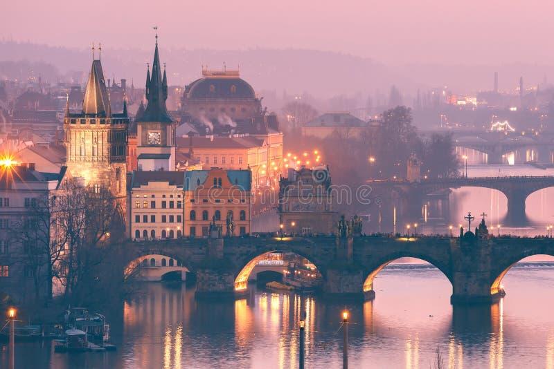 Top view bridges on the Vltava River in Prague, Czechia royalty free stock images