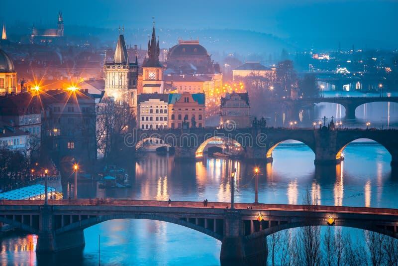 Top view bridges on the Vltava River in Prague, Czechia stock photo