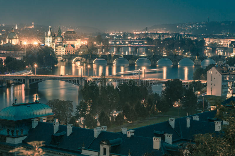 Top view bridges on the Vltava River in Prague, Czechia stock photography