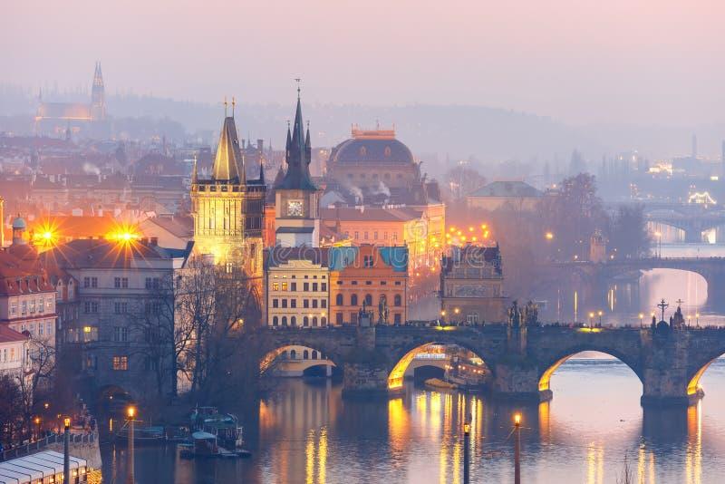 Top view bridges on the Vltava River in Prague stock photos