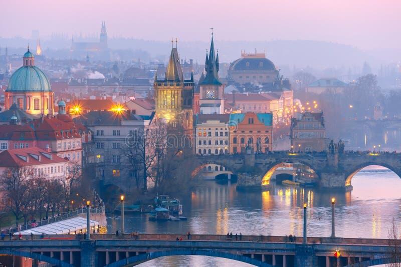Top view bridges on the Vltava River in Prague royalty free stock photos
