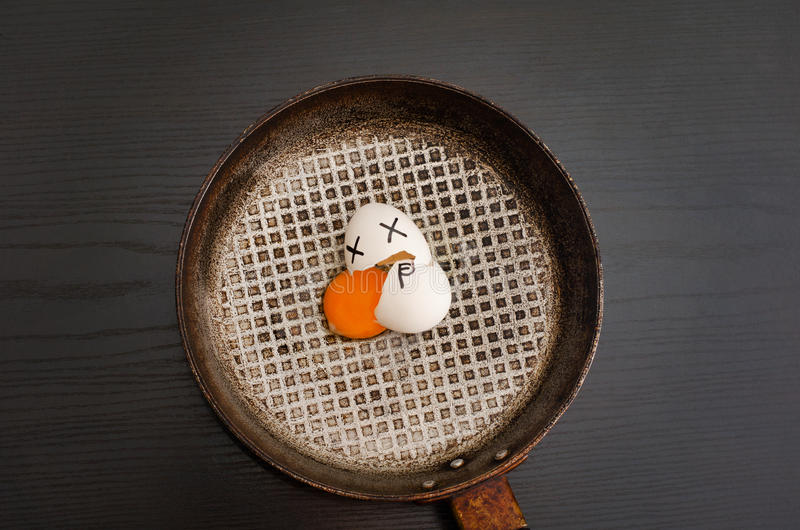 Top view of a broken egg in a frying pan, spilled yolk, painted face, food concept.  stock image