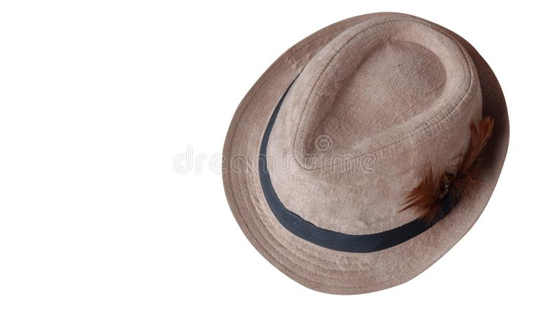Top view brown and black hat on white background,copy space stock images