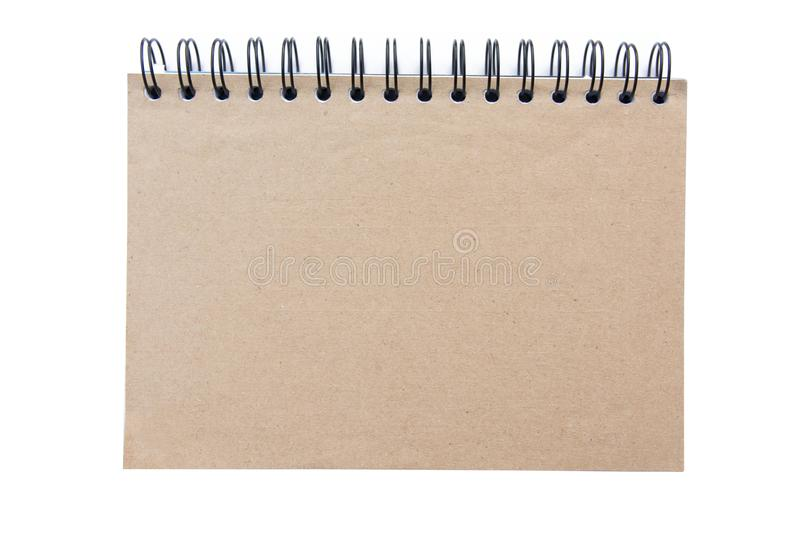 Top view brown blank recycled paper cover notebook isolated on w royalty free stock image