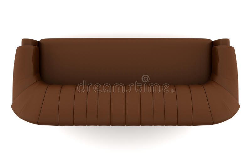 Top View Of Brown Leather Sofa Isolated On White Stock