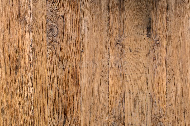 Top View Of Brown Natural Rustic Wood Texture Abstract Background. Hardwood, Old Panels, Grunge Style Wooden Surface Table To Use stock image