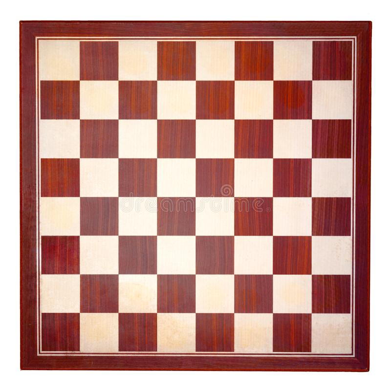 Top view of brown and tan wooden chessboard. On white square background stock photos